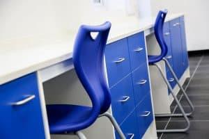 Pathology laboratory design with storage drawers.