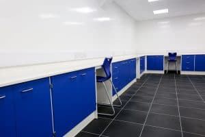 Pathology laboratory design with coved Velstone work top