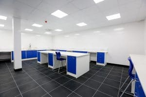 Pathology laboratory design images with contrast blue doors