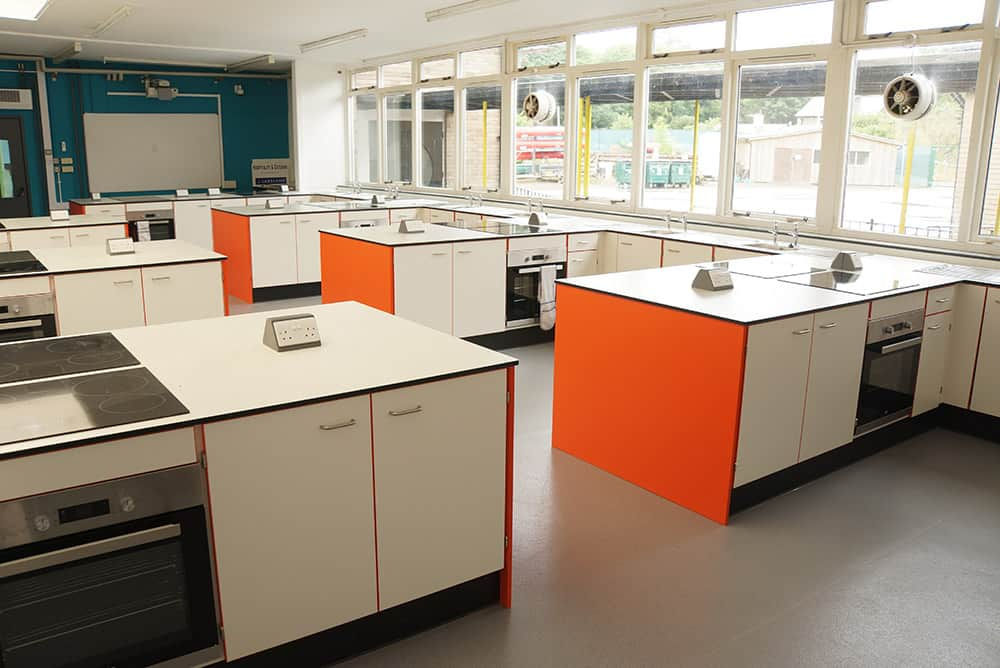 The Lakes School food technology classroom.