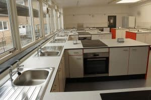 The Lakes School food tech classroom stainless steel sink.