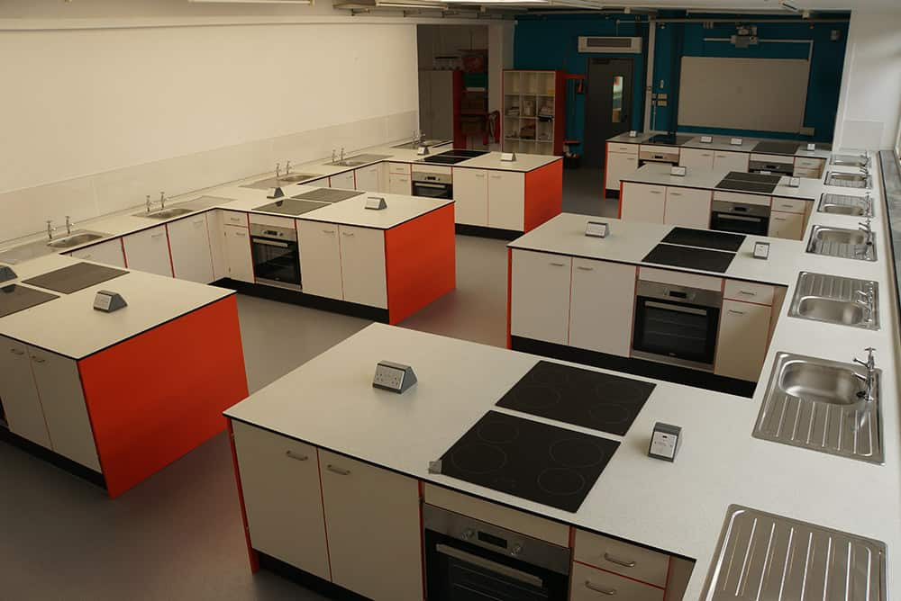 The Lakes School food technology classroom Birdseye view.