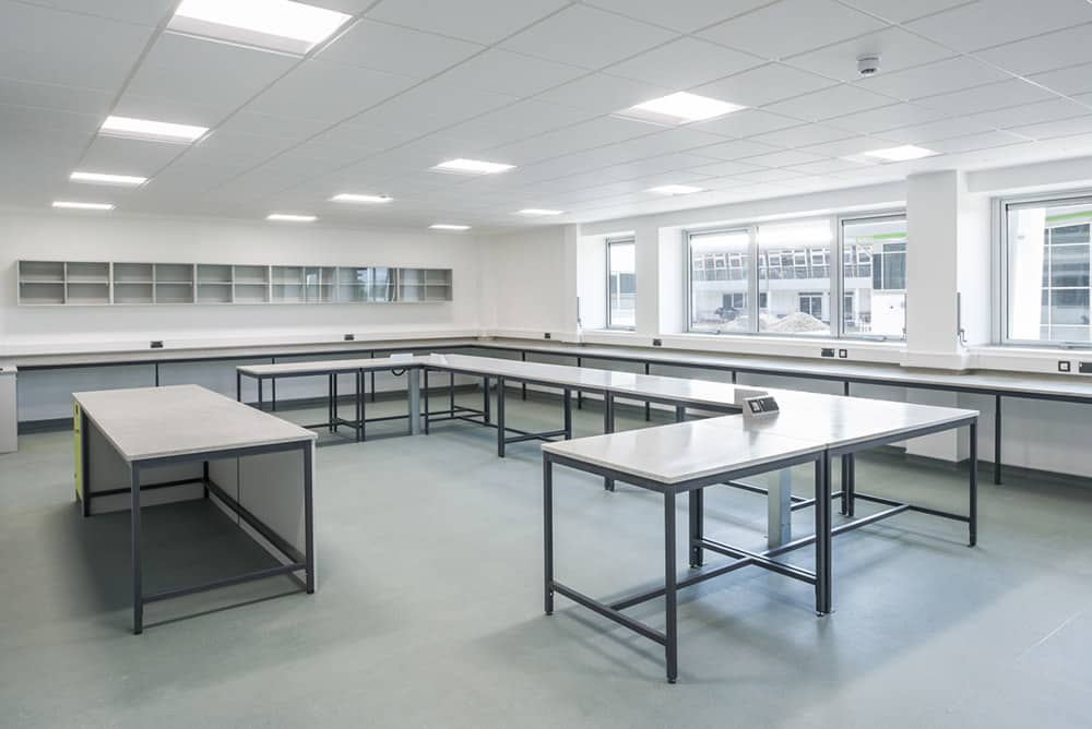 Callywith College science laboratory full classroom.