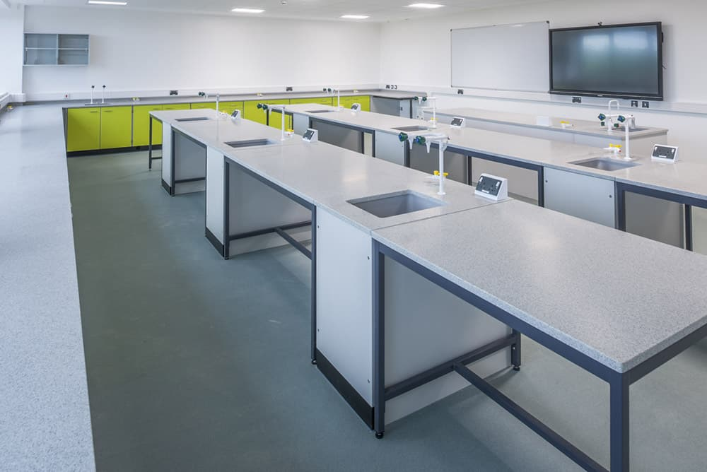 Callywith College science laboratory Trespa worktop.