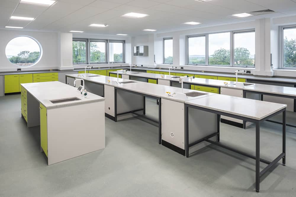 Callywith College science lab teaching desk.