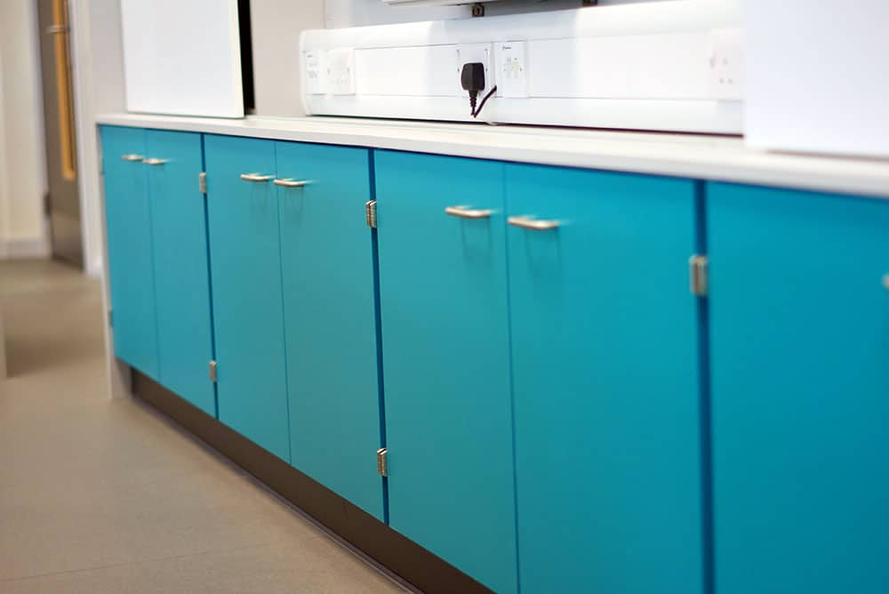 Bury College science laboratory benching and storage cupboards.