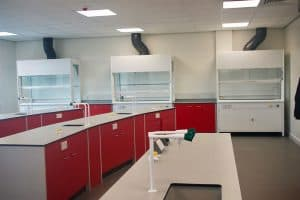 Bury College science laboratory and fume cupboards.