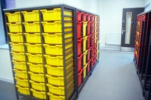 Bury College science laboratory prep room large double tray storage.
