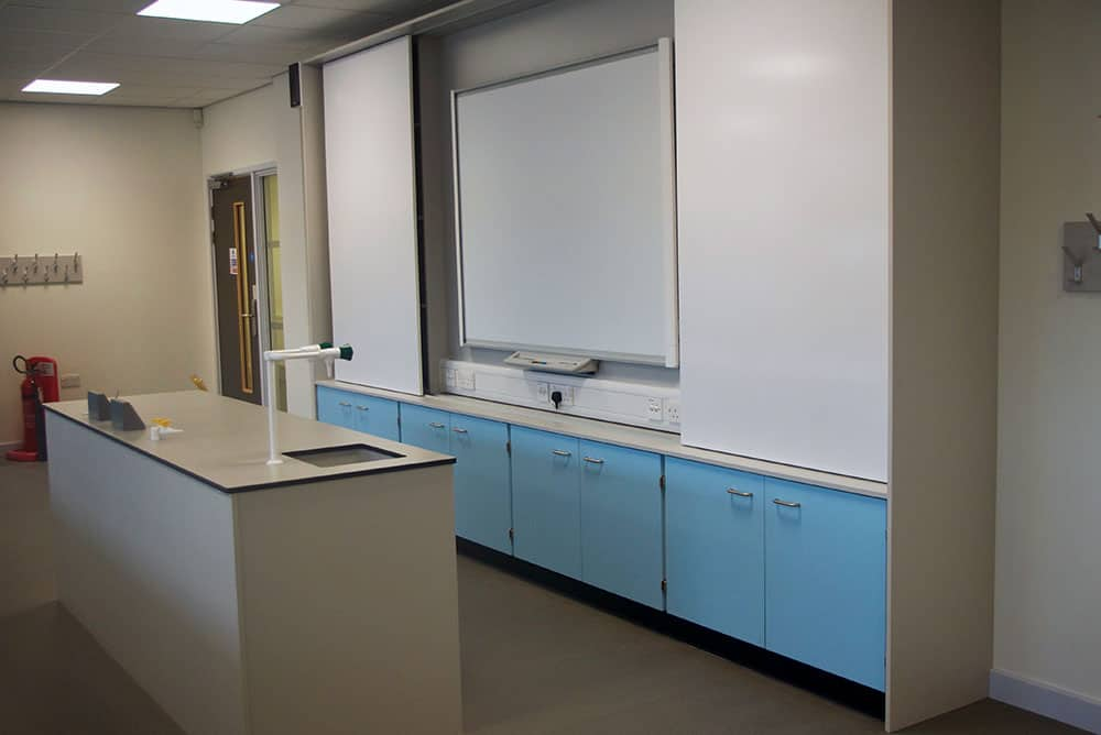 Bury College science laboratory teaching wall.
