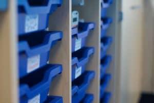 Gratnells tray storage in science lab.