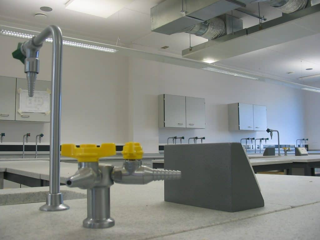 Sussex Coast College science lab satin chrome gas and water taps