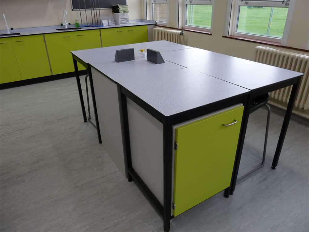 Ryedale School Science Laboratory students work desk.