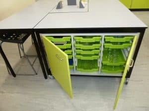 Ryedale School Science Laboratory green tray storage unit.