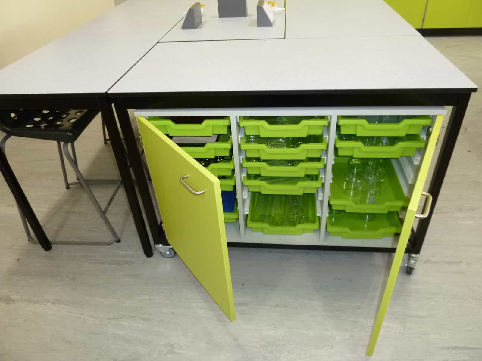 Ryedale School Science Laboratory green tray storage unit.