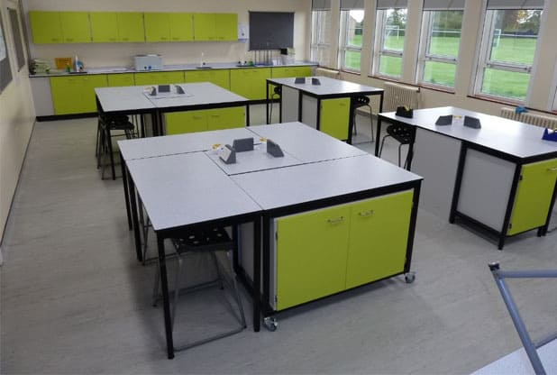 Rydale School Science laboratory featuring mobile table frames with storage under