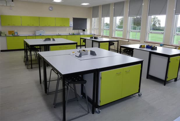 Ryedale School Science Laboratory with green detailing.