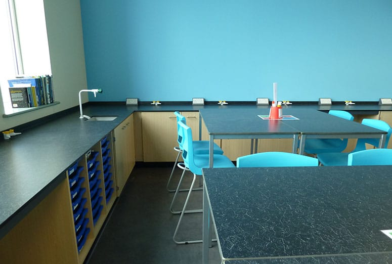 Science lab with Trespa benching with perimeter services.