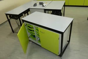 Ryedale School Science Laboratory mobile tray storage unit.