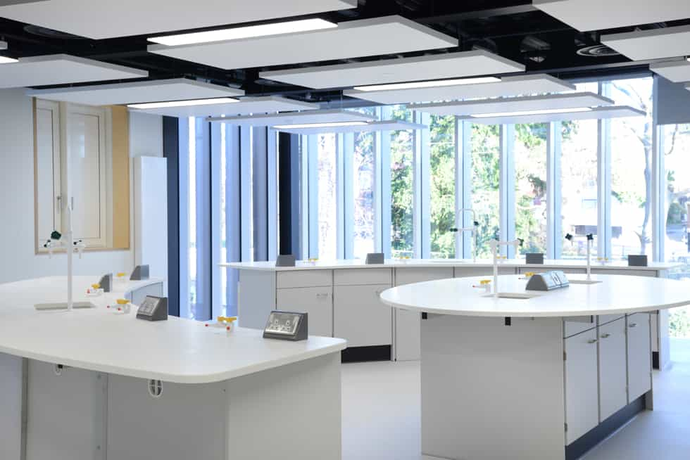 School science lab with curved islands.