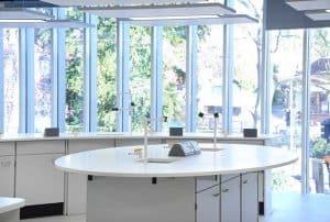Tonbridge School science laboratory island.
