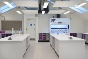 School science lab island and tray storage.