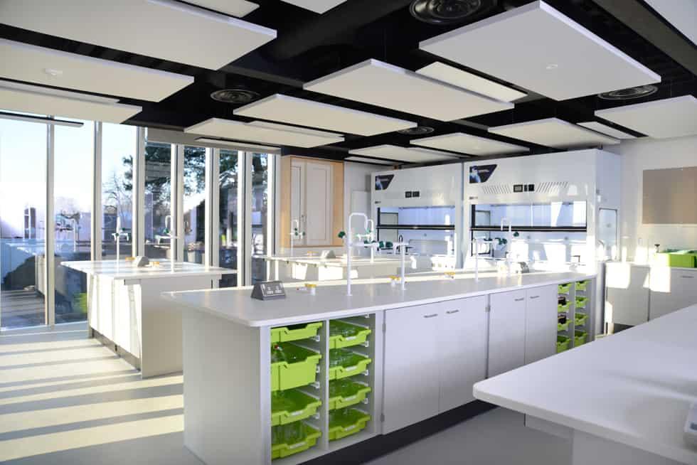 School science lab island with tray storage,