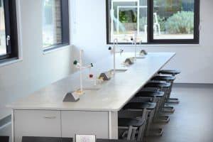 Charterhouse School science lab island.