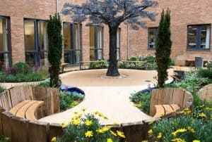 Norfolk and Norwich University Hospital outdoor courtyard area.