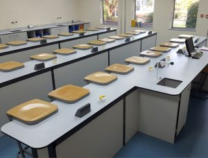 Balcarras School science lab furniture with straight island layout