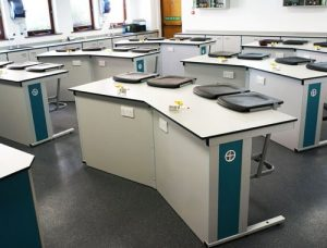 School Laboratory Furniture - Trent College Cranked Island Benching with Trespa worktops