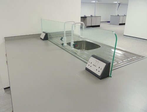 PVC splash screen for research laboratory.