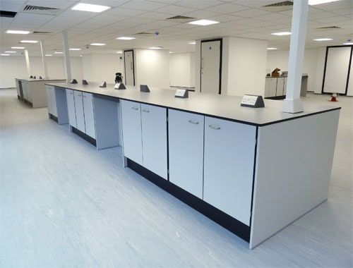 Central island unit with Tresp worktop for science park.