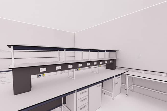 Laboratory benching ad reagent shelving for industrial laboratory.