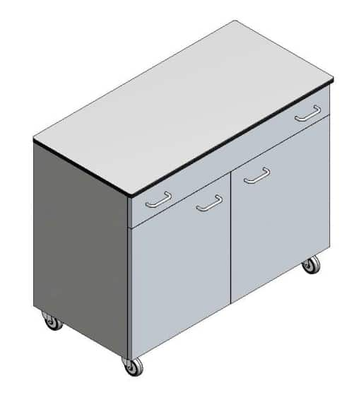 Mobile laboratory storage cabinet for research laboratories.