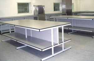 Healthcare laboratory tables.