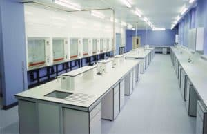 Laboratory benching and fume cupboards for Greenwich University.
