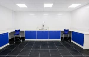 Fixed benching with Velstone worktop for Pathology Laboratory .