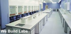 Lab benching and fume cupboards for commercial laboratory.
