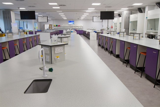 University laboratory furniture. Practical lab at the University of York.