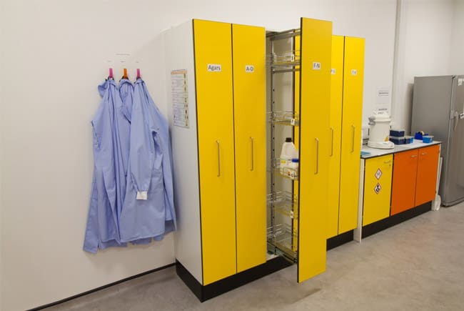 University laboratory prep room with pull out storage.