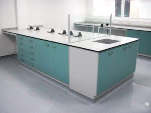 Laboratory Trespa worktop for research, industrial, university and medical laboratories.