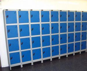 Lockers for a school locker room.