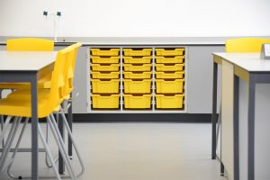Royal Ballet School science laboratory with yellow Gratnell tray storage