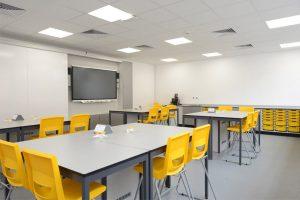 Science laboratory refurbishment with service bollards