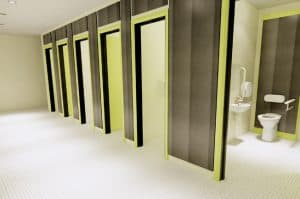 School toilet with full height cubicles