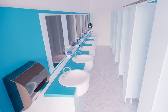 School washroom with hand basins