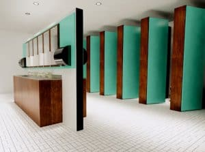 School toilet cubicles with turquoise doors