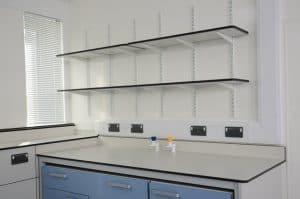 Adjustable Trespa laboratory shelving