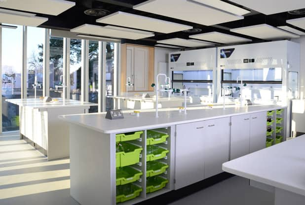 Fitted science laboratory furniture at Tonbridge School, Kent