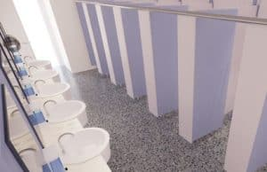 Girls school washroom with cubicles and lilac doors